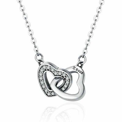Classic CZ Heart Mutual Affinity 925 Sterling Silver Necklace
