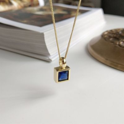 Office Blue Square CZ 925 Sterling Silver Necklace