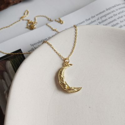 Fashion Wave Crescent Moon 925 Sterling Silver Necklace