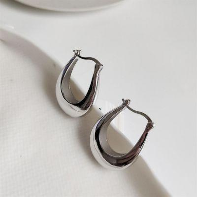 ファッションジオメトリU形925スターリングシルバーレバーバックイヤリング