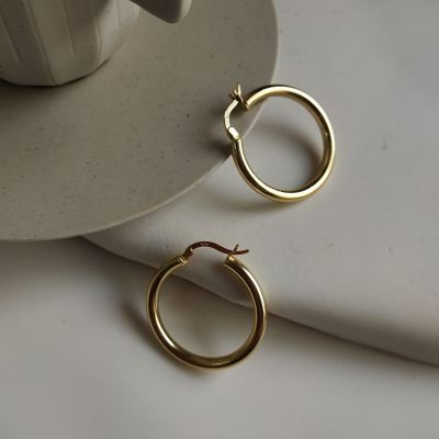 Office Circle Ring 925 Sterling Silver Hoop Earrings