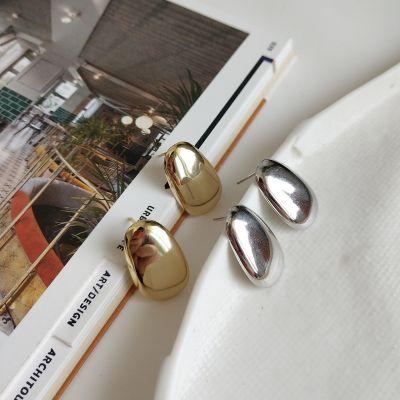 Simple Geometry Ellipse 925 Sterling Silver Studs Earrings