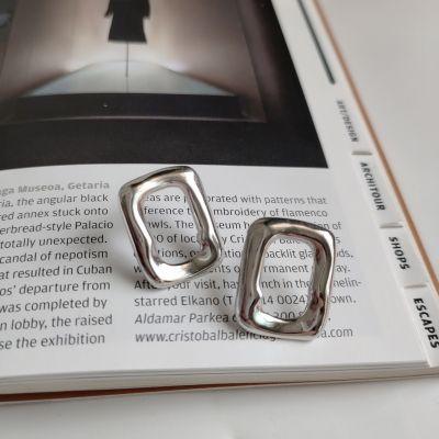Modern Geometry Irregular Hollow Rectangle 925 Sterling Silver Studs Earrings