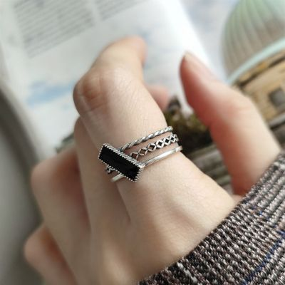 Vintage Three Layer Geometry 925 Sterling Silver Adjustable Ring
