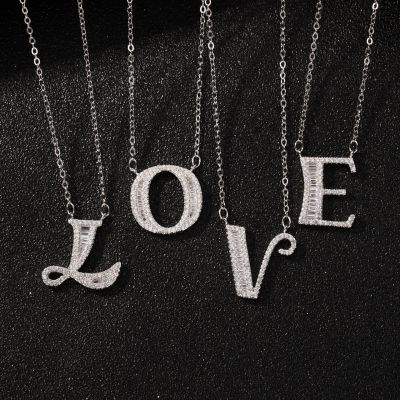 Fashion Micro Setting CZ 26 Letters 925 Sterling Silver Necklace