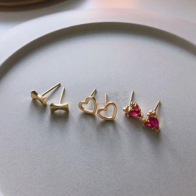 Mini Hollow Heart CZ Waterdrop Candy 925 Sterling Silver Stud Earrings