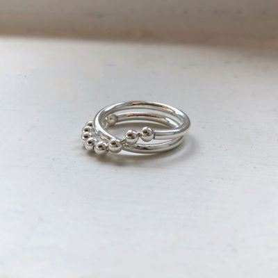 Fashion Beads Cross Double Layer 925 Sterling Silver Adjustable Ring
