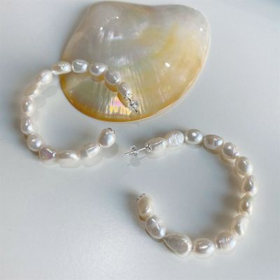 Casual Irregular Shell Pearl Circle 925 Sterling Silver Hoop Earrings