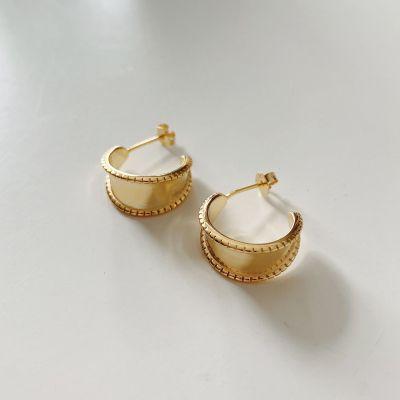 Office C Shape 925 Sterling Silver Hoop Earrings