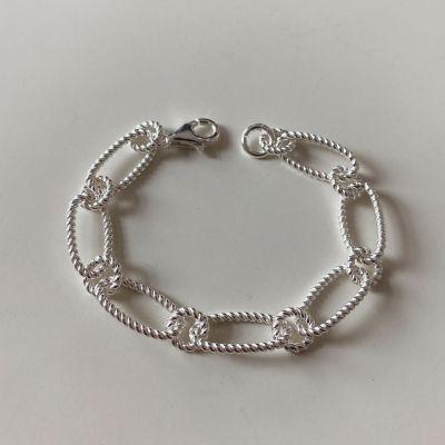 Geometry Twisted Hollow 925 Sterling Silver Bracelet