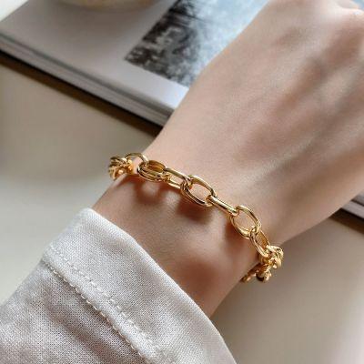 Hot Golden Hollow Chain 925 Sterling Silver Bracelet