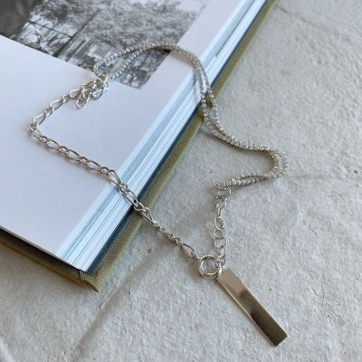 Geometry Rectangle Tag Hollow Chain 925 Sterling Silver Necklace