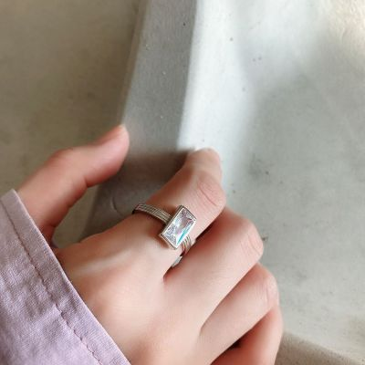 Geometry Rectangle CZ 925 Sterling Silver Adjustable Ring