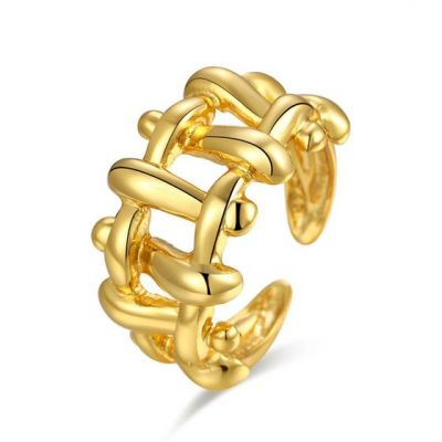 ファッション不規則な凹面凸織り925スターリングシルバー調節可能なリング