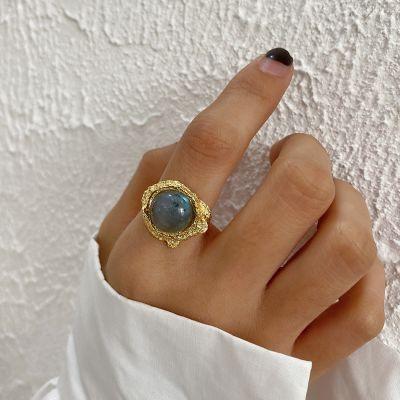 Irregular Natural Anemousite Crystal 925 Sterling Silver Adjustable Ring