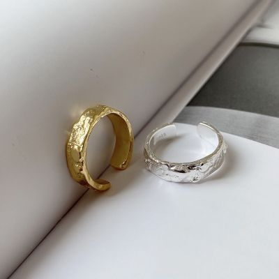 Simple Irregular Face 925 Sterling Silver Adjustable Ring