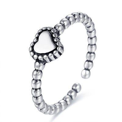 Vintage Heart Beads 925 Sterling Silver Adjustable Ring