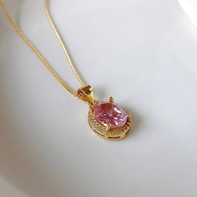 Girl Oval Pink CZ 925 Sterling Silver Necklace