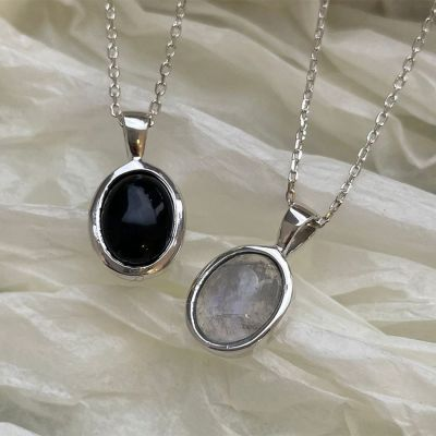 Office Oval Created Crystal 925 Sterling Silver Necklace