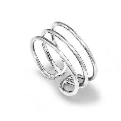 Designer Luck Happiness Health 3 Strips Lady 925 Sterling Sliver Ring