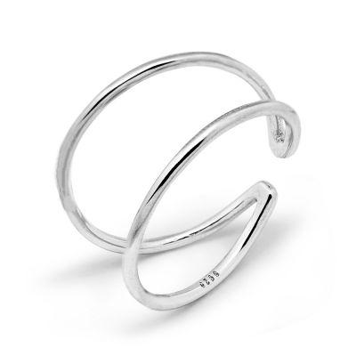 Minimalist Lines V Adjustable 925 Sterling Silver Ring