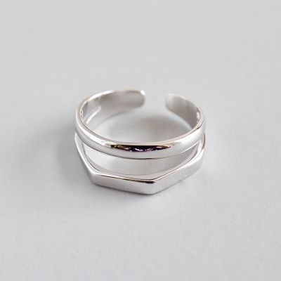 CHIC Double 925 Sterling Silver Adjustable Ring