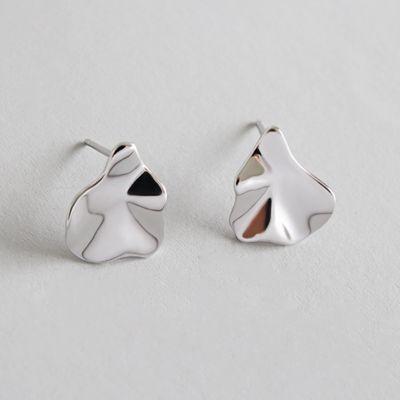 Simple Asymmetric Leaves 925 Sterling Silver Studs Earrings
