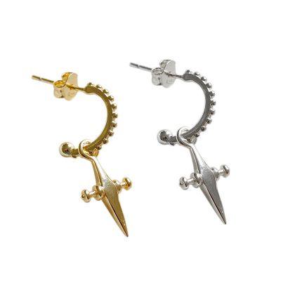 Simple Cross 925 Sterling Silver Dangling Earrings