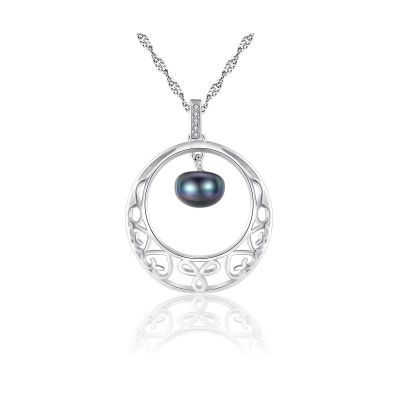 Hollow Half-Round Natural Pearl CZ Solid 925 Sterling Silver Wave Chain Necklace