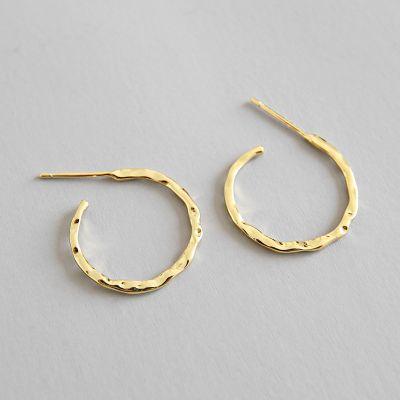 Simple Asymmetric Geometry 925 Sterling Silver Hoop Earrings