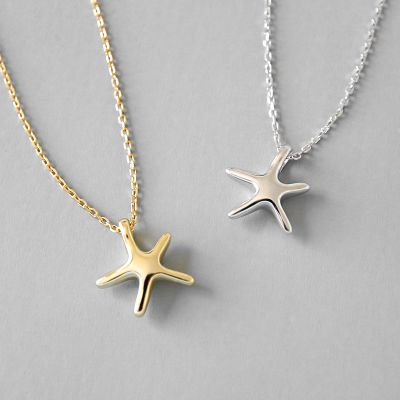 Simple Starfish Five Stars 925 Sterling Silver Necklace