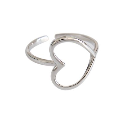 Bridesmaid Hollow Heart 925 Sterling Silver Adjustable Ring