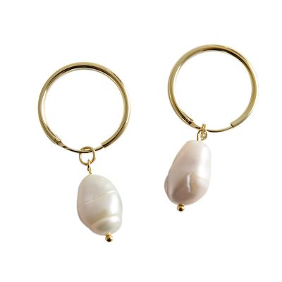 Simple Natural Pearl 925 Sterling Silver Dangling Earrings