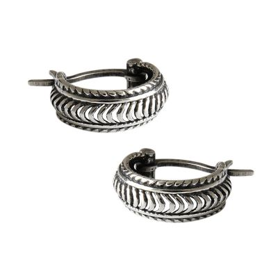 Retro Twisted 925 Sterling Silver Hoop Earrings