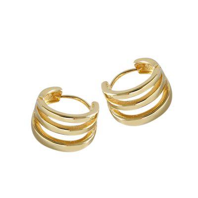 Simple Three Circle Ring 925 Sterling Silver Hoop Earrings