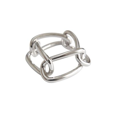 Geometric Hollow Rectangle Chain 925 Sterling Silver Ring