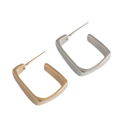 Classic Rectangle 925 Sterling Silver Hoop Earrings