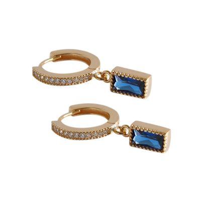 Geometry Blue CZ Rectangle 925 Silver Dangling Earrings (Single Piece)