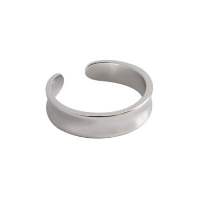 Simple Concave 925 Sterling Silver Adjustable Ring