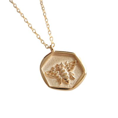 Cute Honey Bee Tag 925 Sterling Silver Necklace