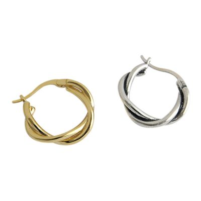 Party Simple Twisted Circle 925 Sterling Silver Hoop Earrings