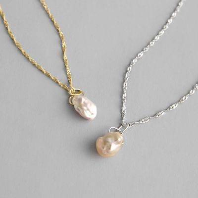 Anniversary Irregular Natural Pearl 925 Sterling Silver Necklace