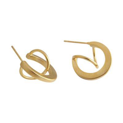 Geometry Matte Irregular Semicircle 925 Sterling Silver Stud Earrings