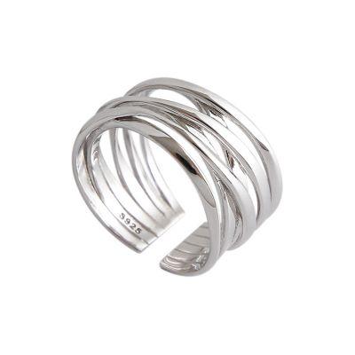 Fashion Multi-Storey Cross 925 Sterling Silver Adjustable Ring