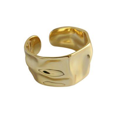 シンプルな不規則な凸凹のある925純銀製の調節可能なリング