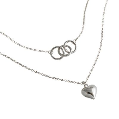 Anniversary Double Circles Heart Love 925 Sterling Silver Necklace