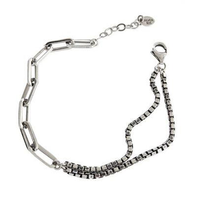 Retro Double Layer Hollow Chain 925 Sterling Silver Bracelet