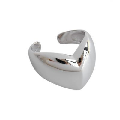 Masculine Big Heart Love 925 Sterling Silver Adjustable Ring