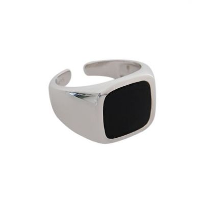 New Geometry Black Square 925 Sterling Silver Adjustable Ring