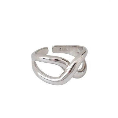 Hot Geometry Hollow Cross 925 Sterling Silver Adjustable Ring